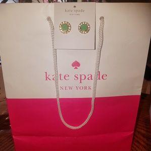 BNWT Kate Spade Green stone with faux diamonds